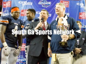 Kevin Kinsler speaks with GPB during the trophy presentation. Northside came from behind to defeat Mays. Photo: Shine Rankin Jr./SGSN