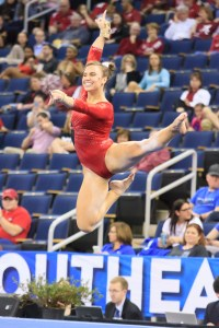 Junior Mary Beth Box on the floor at the SEC Championship