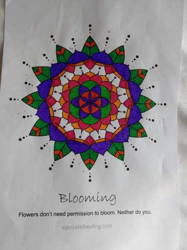 """How to use Oracle Mandalas: Coloring In"" depicts a beautiful mandala titled Blooming, coloured in with purple, pink, green and orange colours."