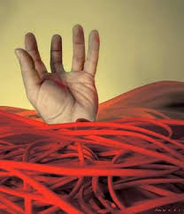 hand in red tape