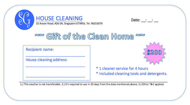 Gift of One Time House Cleaning Services