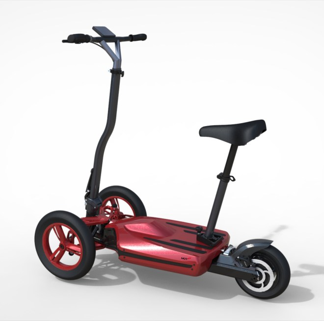 Can be converted into an electric mobility scooter by adding a seat
