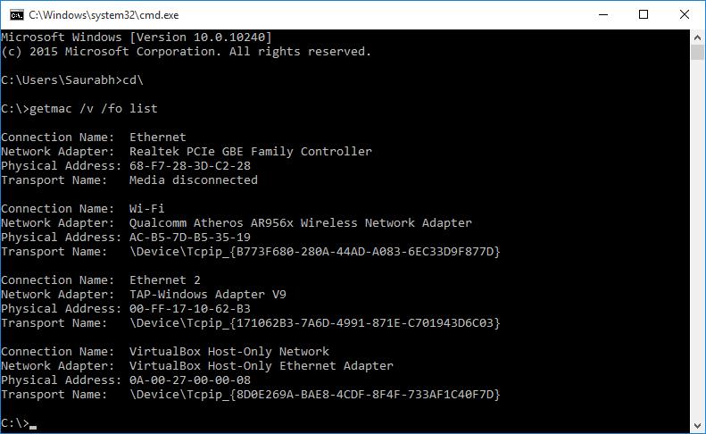 Command Prompt MAC Address List