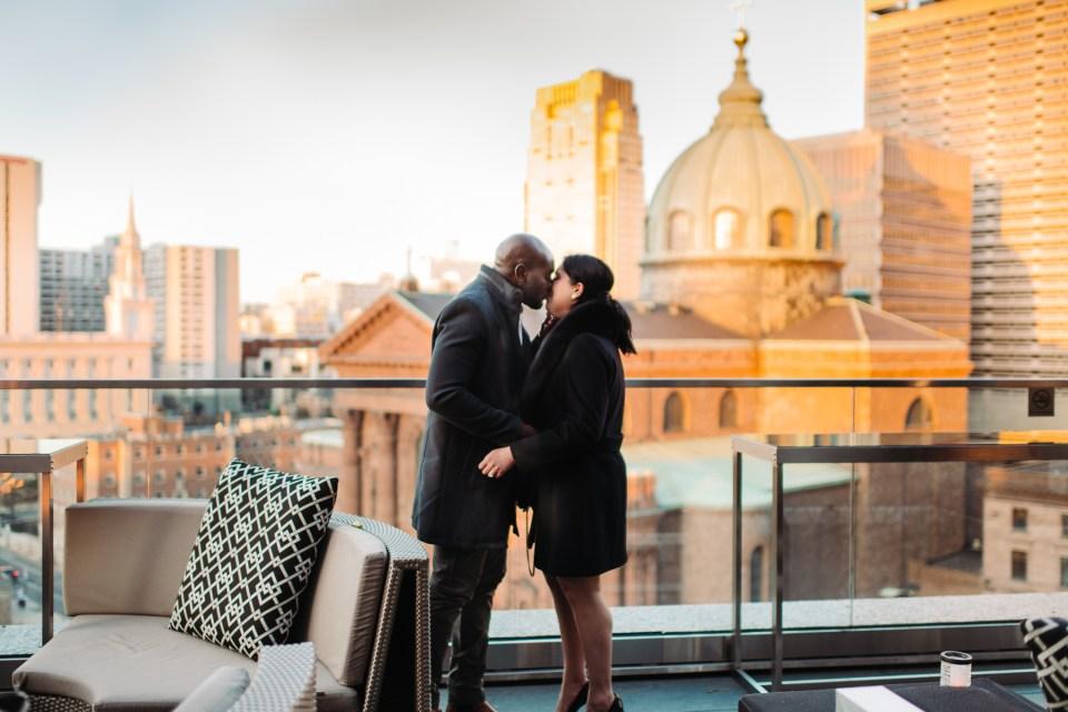 couple kisses after proposal