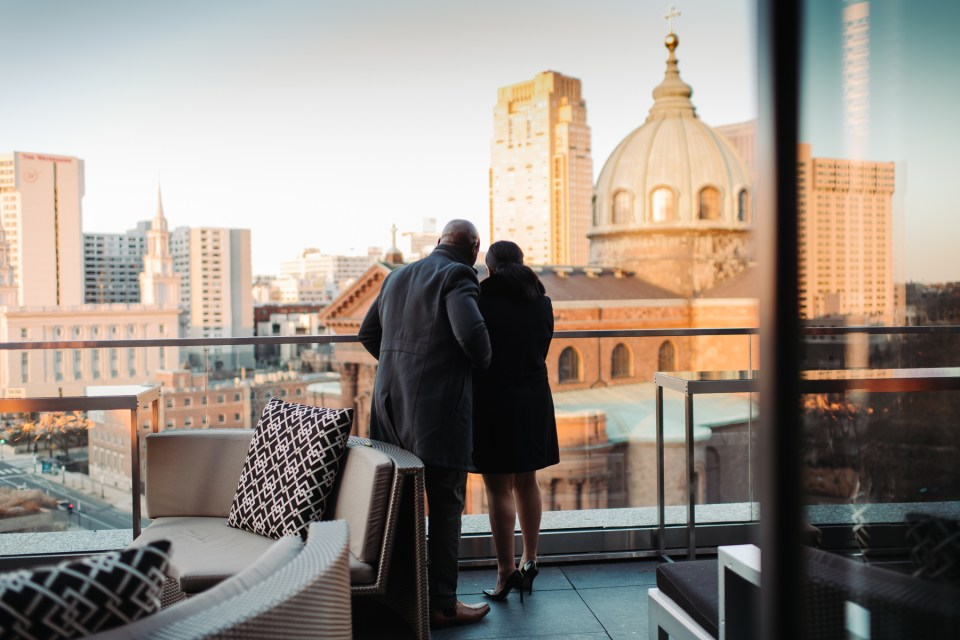 a couple viewing the logan hotel