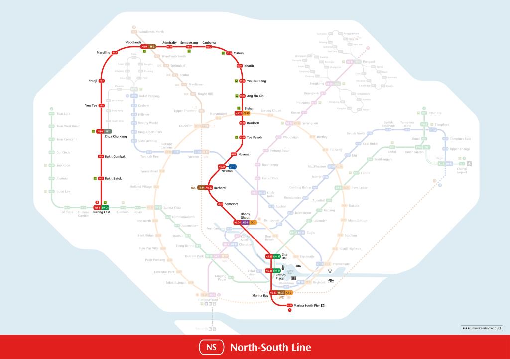 North-South Line MRT Map
