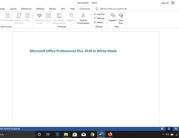 Microsoft Office 2019 in White theme
