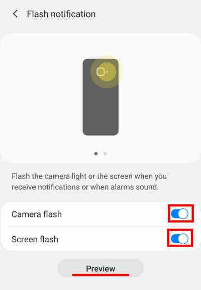 How to Set flashing light notification on Samsung S10, S20 Series & Z Flip