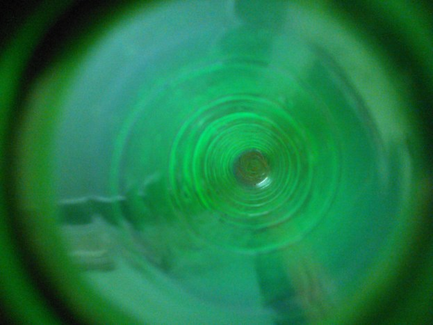 View of inside of a green bottle...