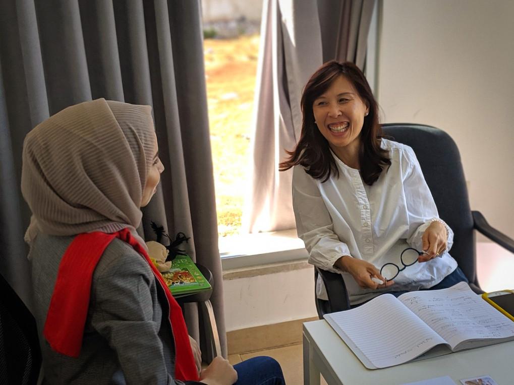 smiling student learning colloquial Arabic in Amman Jordan