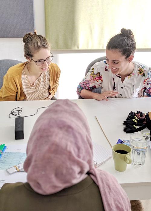 two women learning colloquial Arabic in Amman Jordan