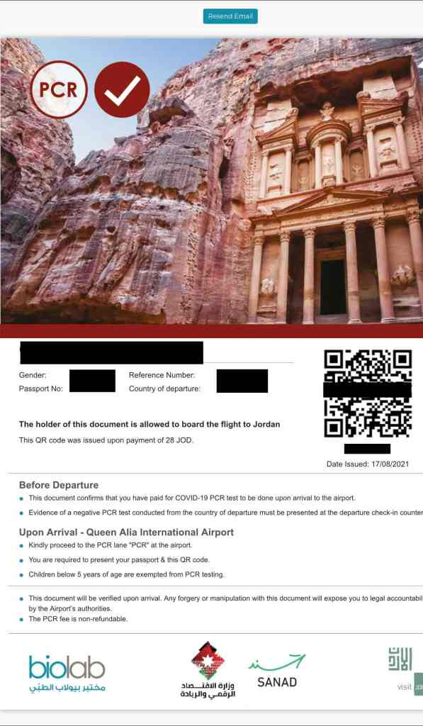 QR code for arrival to Jordan if PCR needed