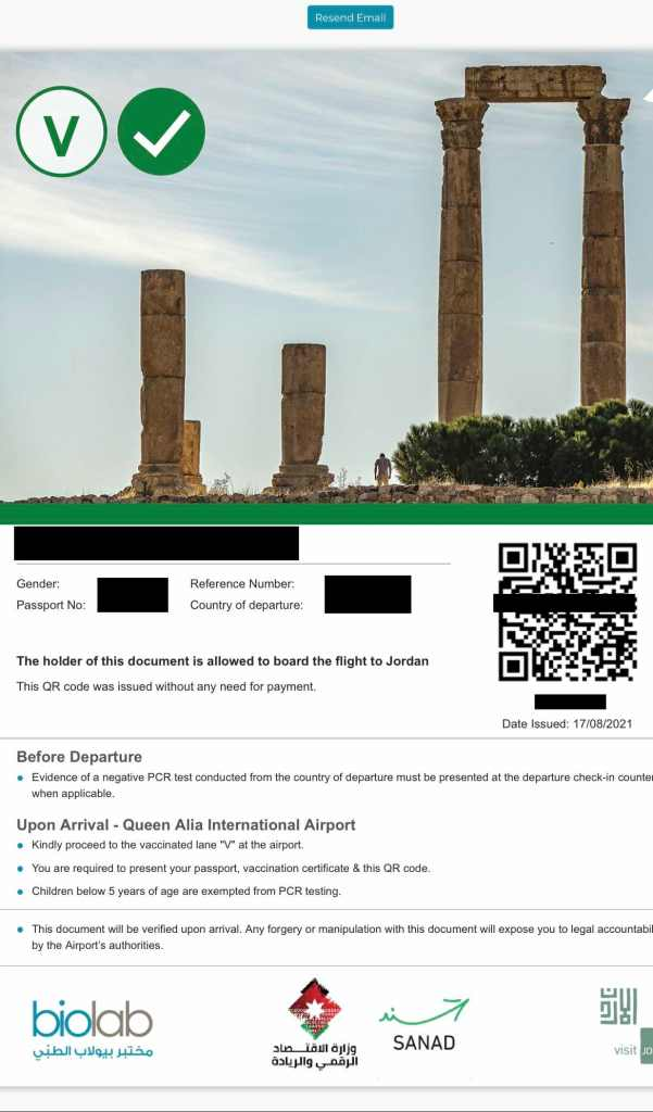 QR code for arriving to Jordan during COVID-19