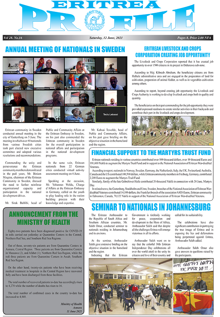 ~Profile \ Ext:php Inurl:?Article= : Eritrea Profile 12 June 2021 - Eritrea Ministry Of Information