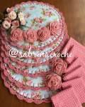Sottopiatti in tessuto floreale con rifiniture all'uncinetto per lo stile Shabby