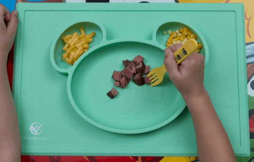 Less-mess silicone placemat for the picky eater.