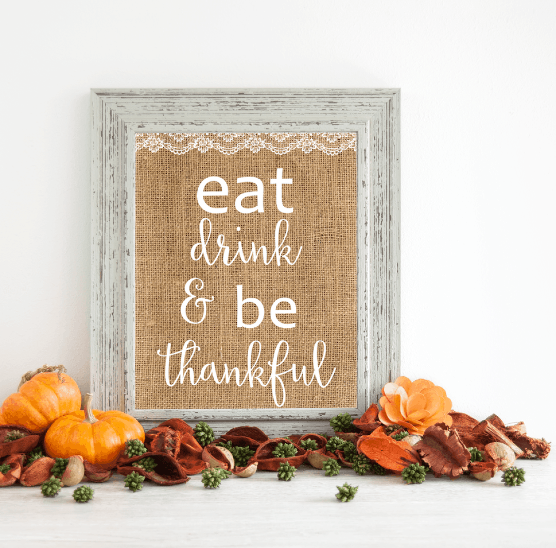 Eat, Drink, & Be Thankful wall art. Shabbymintchicparty.com