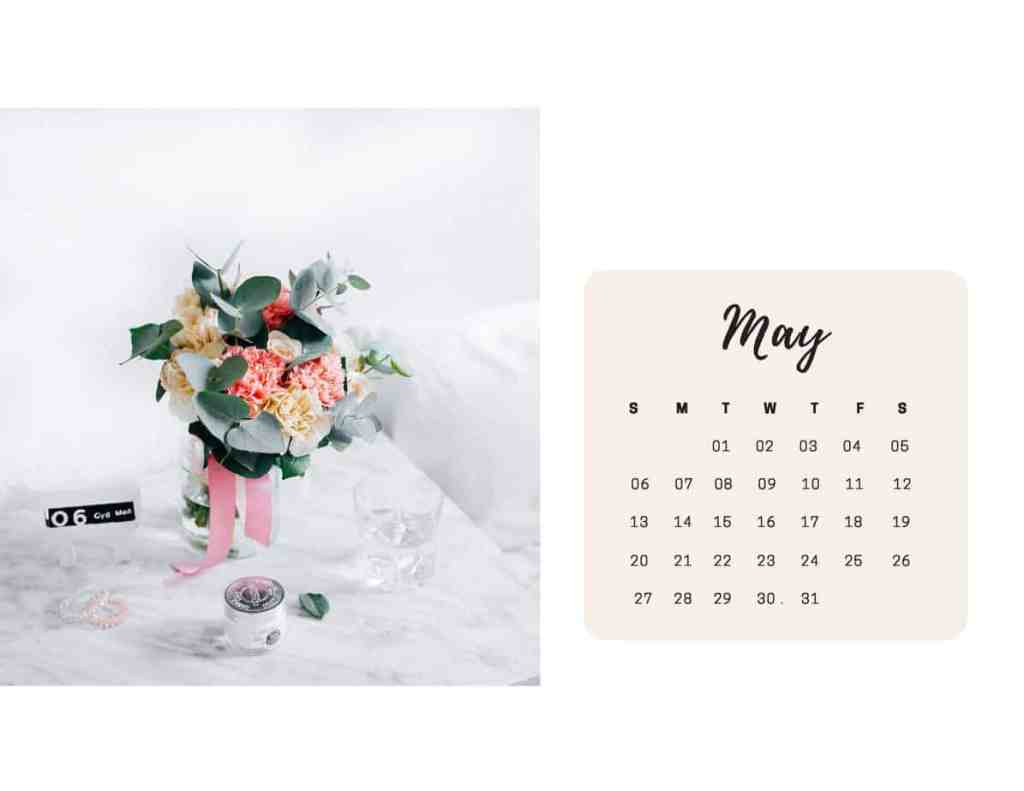 Shabby Chic Floral Calendar May