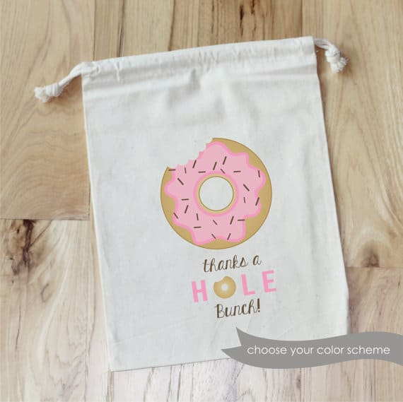 Donut theme party favor bags