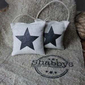 Shabbys-Stoer in wonen-Mini linnen lavendelkussentje met zwarte ster en stoer koord