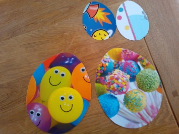 Large and small recycled card eggs