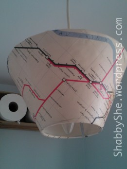 Lampshade re-covered with map