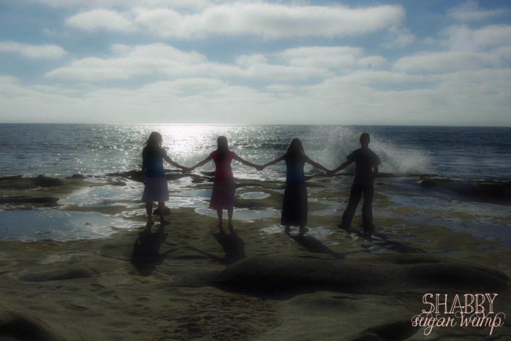 kids by ocean