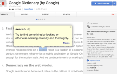 Google dictionary best chrome extension