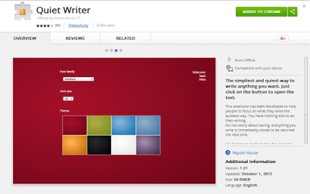 quiet writer notepad chrome extension