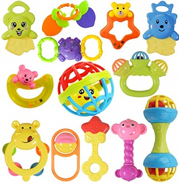 WISHKEY Colorful Rattles and Teethers for kids