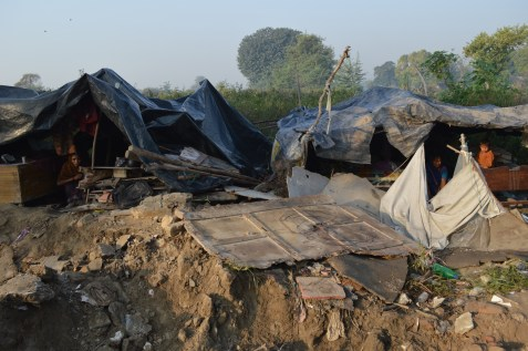 In Shakarpur, New Delhi, makeshift house have been demolished by government.