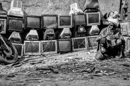 This is the common sight at Mustafabad. The entire community is drowned into a pool of computer monitors and parts.