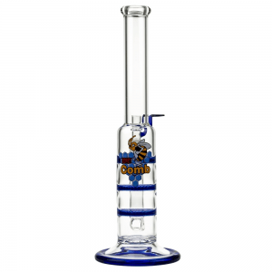 Back Leaf Glass Bong with Triple HoneyComb Disc