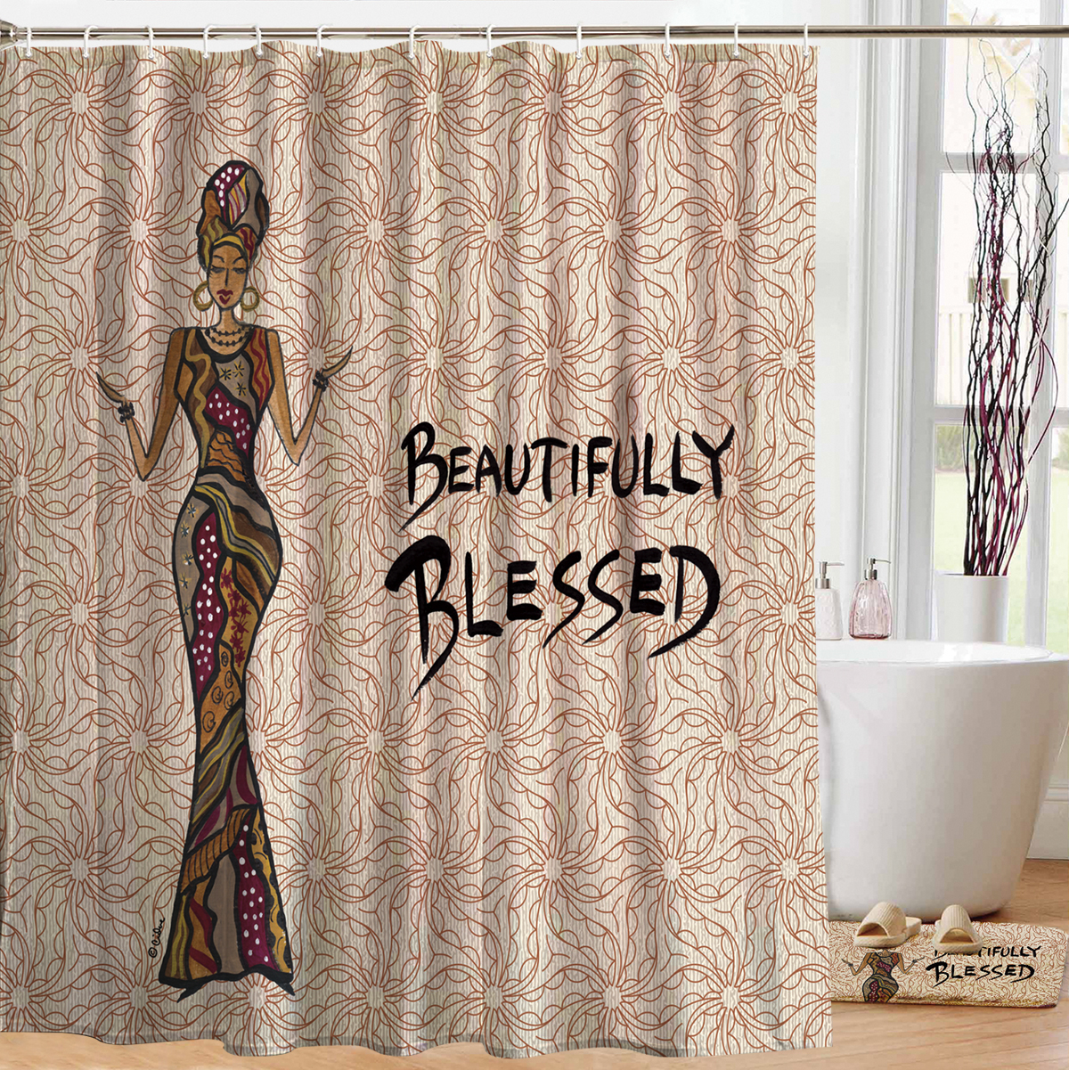 beautifully blessed designer shower curtains