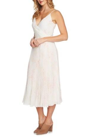 1 State Print Pleated Wrap Midi Dress