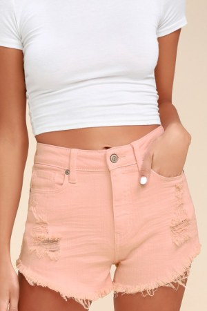 LULU Light Pink High-Waisted Cutoff Denim Shorts