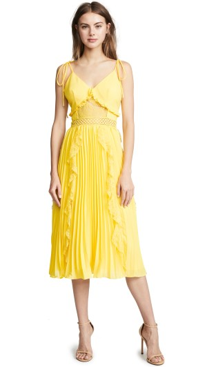 Yellow Ruffle Pleated Dress