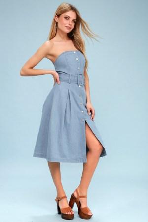J.O.A Strapless Denim Midi Dress