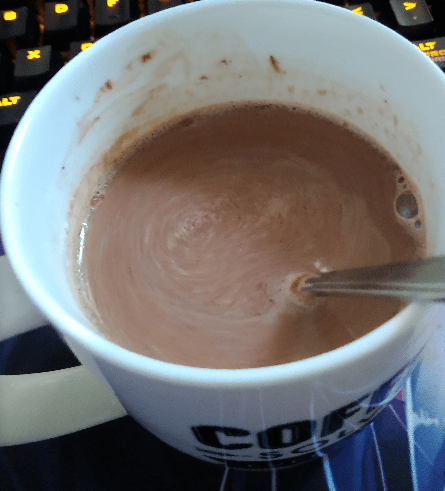 Mug of hot chocolate ready to drink