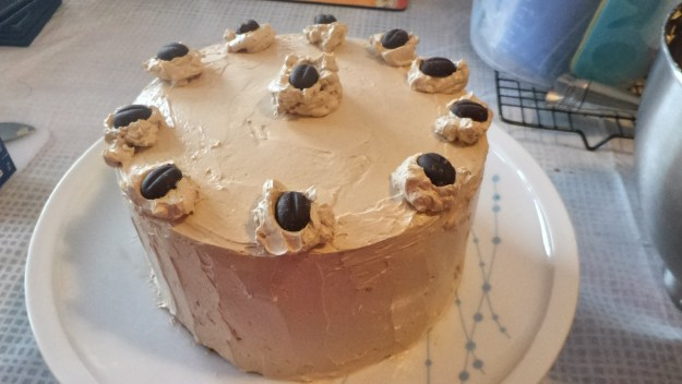 Double layered mocha chiffon cake with mocha meringue buttercream