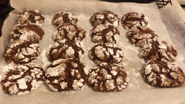 A tray of chocolate crinkles