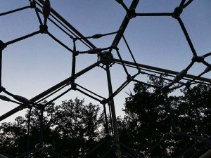 A geodesic jungle gym formed by hexagons of cable