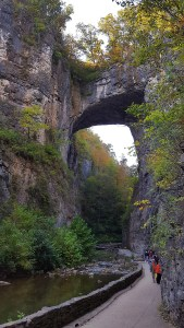 Approach to Natural Bridge which is a river carved arch about 90 feet high and 30 foot wide.