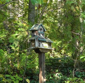 Bird house the looks like a bayou shanty