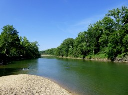 The Meramec River runs through the caverns and is a favorite swimming hole for the locals.