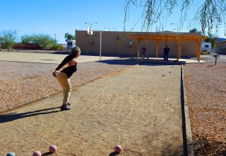 Finding our what it is like being a snowbird. Playing Bocce ball with Patsy and Sherwood.