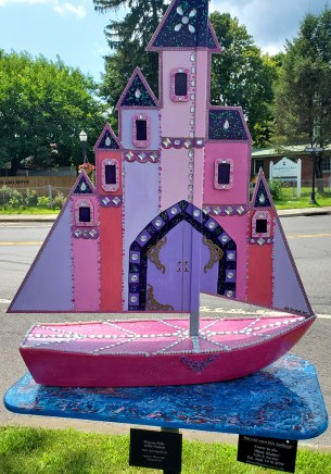 These decorated sailboats were all over town