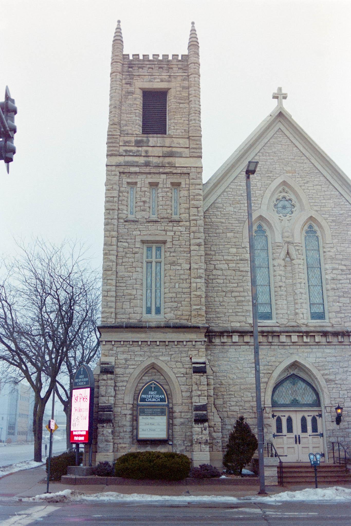 First Presbyterian Church, downtown Cedar Rapids on a foggy winter day. Camera: Nikon N2020 with Fujifilm Superia 400