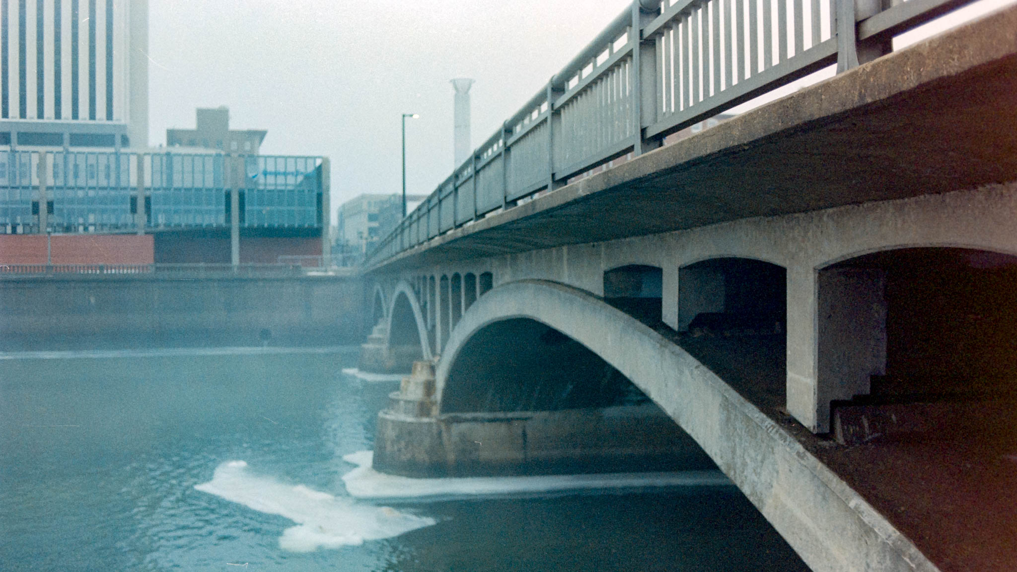 Downtown Cedar Rapids on a foggy winter day. Camera: Nikon N2020 with Fujifilm Superia 400
