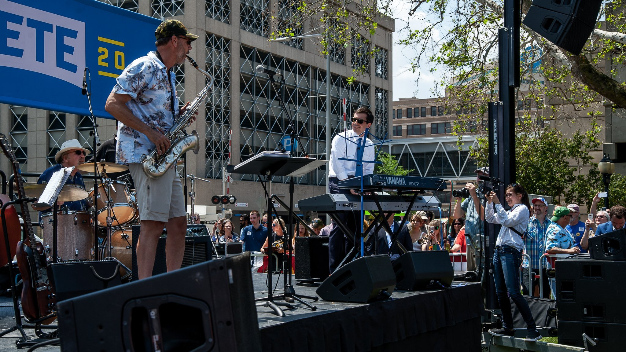 South Bend, Indiana Mayor Pete Buttigieg playing keyboards at a campaign event in Cedar Rapids, Iowa